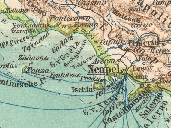 """details from #Italy Antique Map Print, 1897, Lithograph, German, """"Italien"""", Old maps"""
