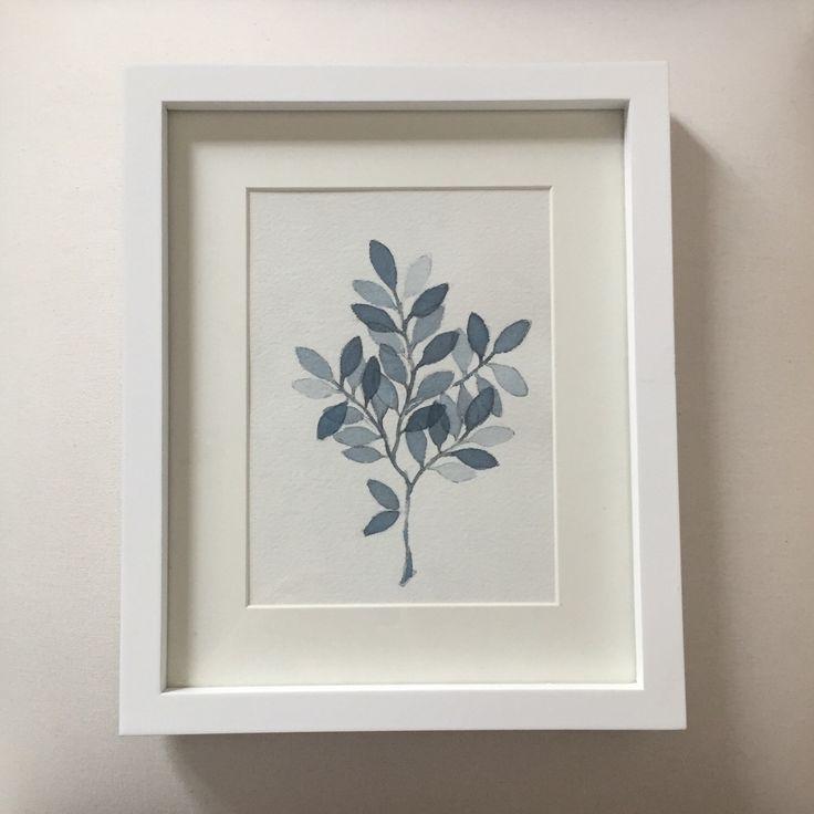 Hojas Azules en rama Acuarela Original pertenece a la Colección Botánicas