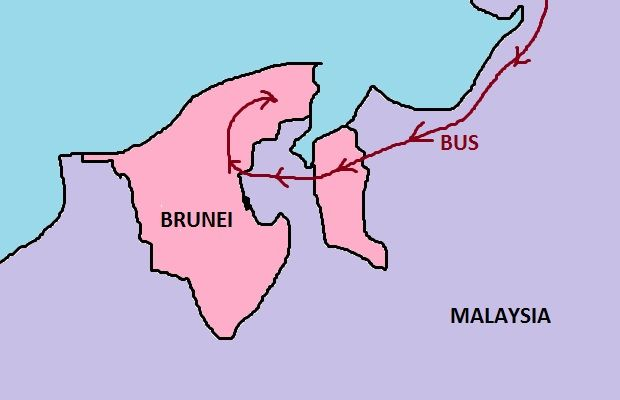 Map of Malaysia to Brunei bus route