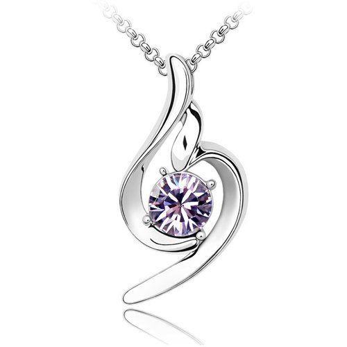 "Light Purple Genuine Crystal Pendant, Elegant Women Necklace, 18K White Gold Plated, Come With FREE 18"" Chain Top Value Jewelry. $25.99. Style: Charm Necklace with Light Purple Crystal. Perfect gift for any occassion. 18K Gold Plated Pendant. Sparkling Pendant with elegant design. Simple Yet Elegant"