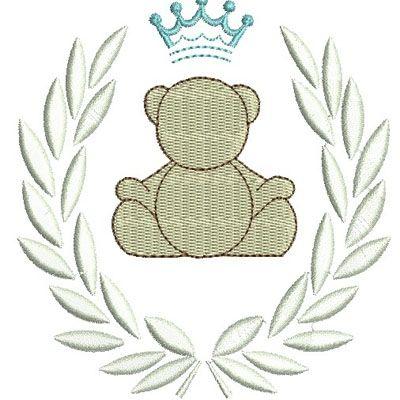 urso com ramos e coroa