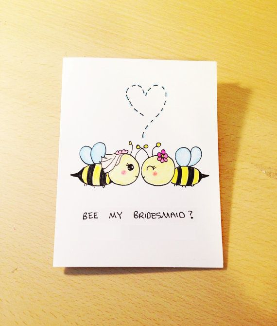 Will you be my bridesmaid funny invitation card, bee pun card, bee art, cute bridesmaid card by LoveNCreativity