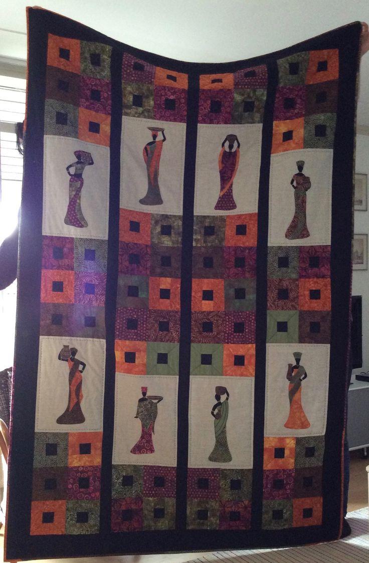 Denne smukke quilt med afrikanske kvinder på er syet af min kursist Elisabeth Melgaard hos Speich Design i foråret 2017.