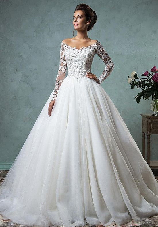Gorgeous Long Sleeve Tulle Lace Wedding Dress 2016 Off-the-Shoulder. www.27dress.com