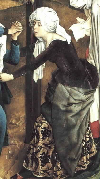 """Rogier van der  Weyden, 1438-40  (Vos, p. 211)  Detail from the Triptych of the Crucifixion 'Abegg triptych'  Fur lined purple kirtle over brocade undergown. Note the side and sleeve lacing and """"biblical"""" headdress."""