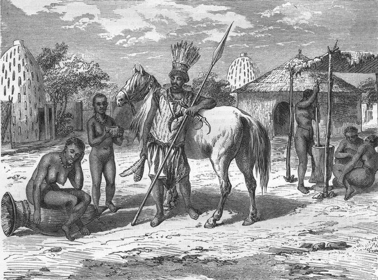 CAMEROON Musgu Chief, antique print, 1870