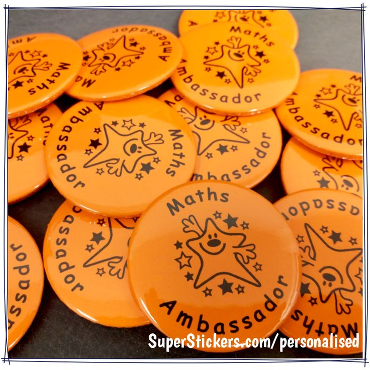 If you're looking for some eye-catching praise, our 38mm neon orange Personalised Badges will do the trick!  Design yours here: http://www.superstickers.com/c/32563255/subjects/personalised/badges/badges