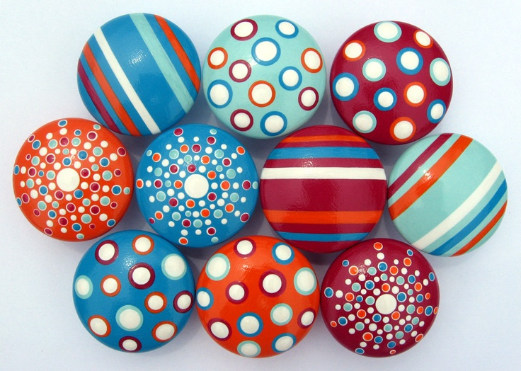 Striped, Spotted and Polka Dotted Hand Painted Drawer Knobs - Deep Pink Red, Orange, Turquoise, Vanilla and Robin's Egg Blue, Set of 10. $73.50, via Etsy.