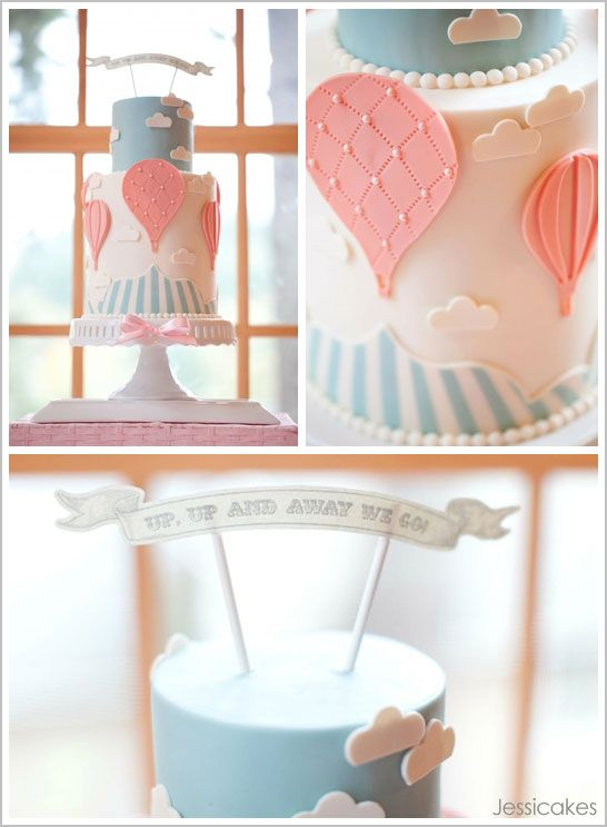 Up Up and Away - Hot Air Balloon baby shower. This site, www.thecakeblog.com, is quite possibly the best I've seen for shower/party inspiration.