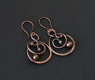 Round Natural Copper Earrings 7th Anniversary Gift for Wife Spiral Coil Earrings for Pierced Ears Nickle Free Artistic Wire Jewelry