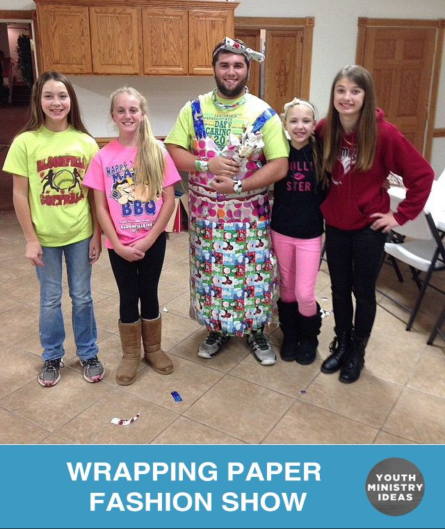 Wrapping paper fashion show. Youth Ministry Ideas and Games. | youthdownloads.com                                                                                                                                                                                 More