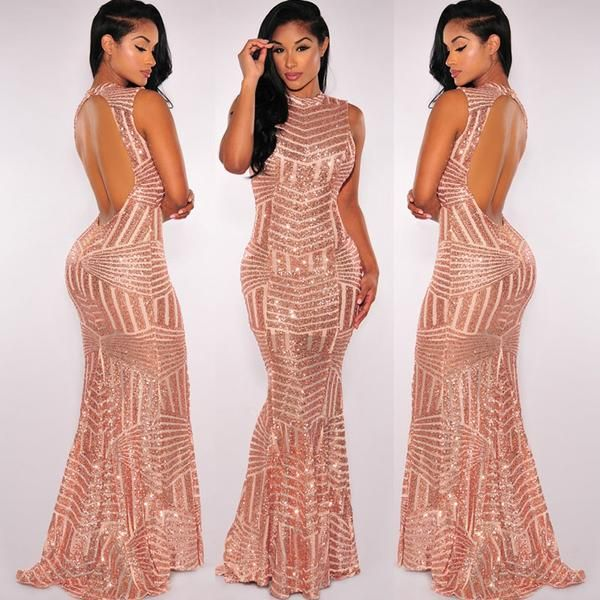 Glamorous Evening Dresses Pink Gold Sequins Gown | Gold sequin gown ...