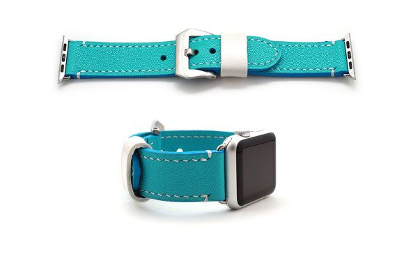 Hand stitched Apple watch band strap in  caviar Pattern embossed calf leather. beautiful aqua blue - turquoise color stands out on your wrist!