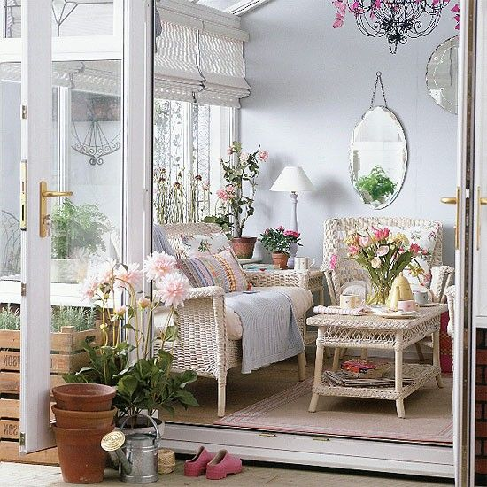 Country-style conservatory    Vintage patterns work perfectly to create a country garden feel in this conservatory. Wicker is a great choice for adding a timeless, but traditional element.