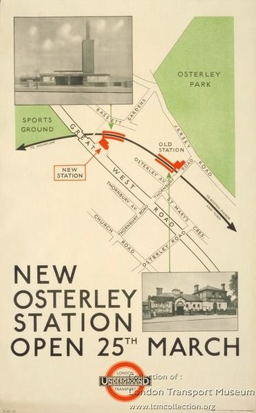 New Osterley station, by unknown artist, 1934