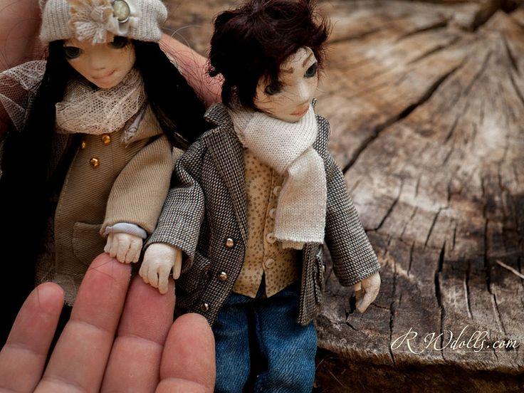 Émile and Amy. Handmade textile dolls