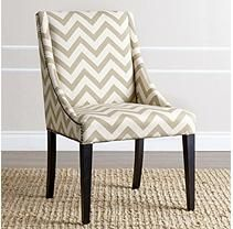 Abbyson Living Jewell Swoop Dining Chair, Gold Chevron