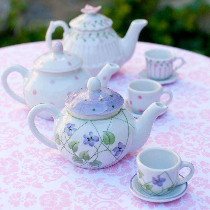Doll Lavender Flower Tea Set $18, hand painted porcelain.
