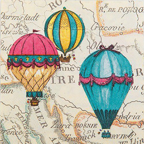Serviettes for Decoupage //Parties //Weddings 2 Paper Napkins Vintage Balloons
