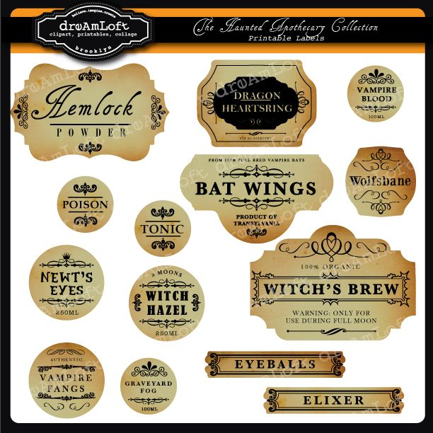 Don't forget  the small details when you plan your Halloween Party. These make great labels for bottles and jars to hold all your Halloween treats! And don't forget the matching Haunted Apothecary Clip Art !    These labels come with the titles you see as well as blank so you can fill in your own scary potions!