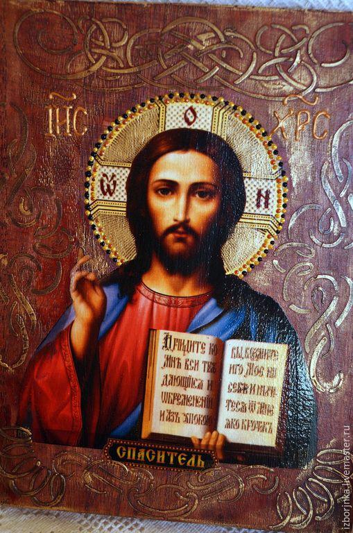 Купить икона ,,Спаситель,, - икона, Декупаж, икона в подарок, Икона ручной работы, Икона на заказ