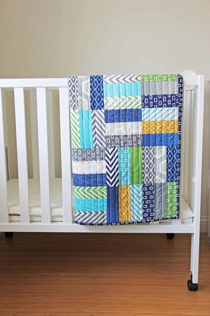 Nice blocks with straight quilting. Make 2 baby quilts from 1 jellyroll.