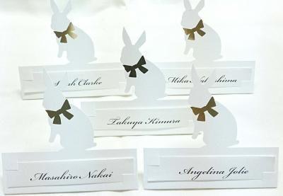 Sitting Cards 【Rabbit】 席札 うさぎ|席札 結婚式ペーパーアイテムや披露宴のパンフレット形の席次表など。こだわりブライダルのお手伝いトゥルーハートイズプット。