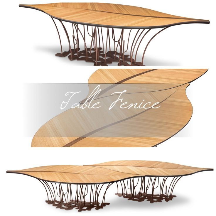 Table Fenice: #leaf-shaped table in oak and walnut, with legs in COR-TEN/weathering steel, characterized by a unique and #modern #Italian #design. From 14 to 19 April at Salone del Mobile (Hall 1, Stand L12), #Milan, #Italy. | #furniture #home #decor #interiordesign #architecture #luxury #handmade #new #inspiration #nature #amazing #style #lifestyle #interior #homedecor