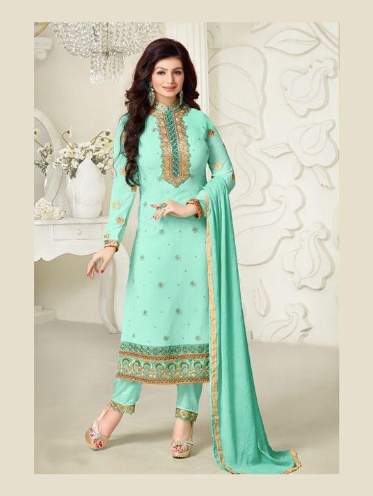 Ayesha Takia Sea Green Georgette Pakistani Style Suit 68526
