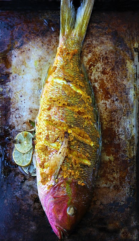 // Turmeric-roasted red snapper