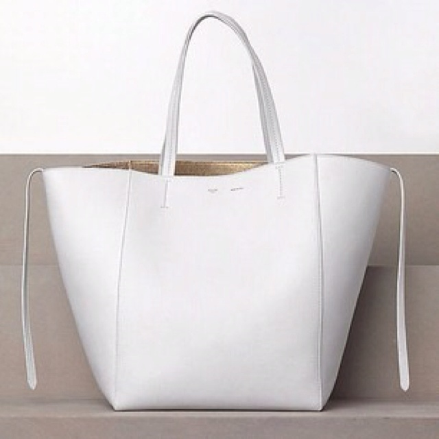 1 200 Celine White Drummed Calfskin Leather Cabas Phantom Tote Bag At Yoogi S Closet