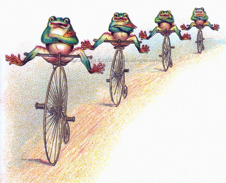 Frogs on Bikes Greeting Card - Reproduction from a Vintage Image. In my #Etsy store today.