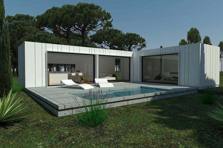 Casas modulares h-kub. Nuevos modelos h-kub 60a y h-kub 72c. Fachada ventilada Ulma textura blanco