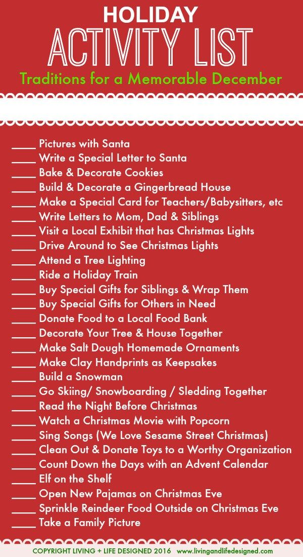 Holiday Activities List for the Month of December Leading