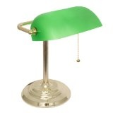 Banker's Lamp with Green Glass Shade (Brass Finish)By Lightaccents