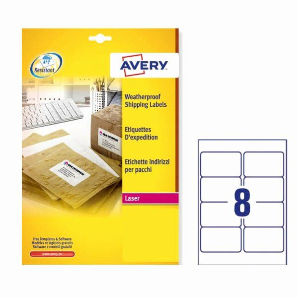 Avery Label 8 Per Page Fresh Avery Weatherproof Shipping Label 99 1x67 7mm 8 Per Sheet White 200 Pack L7 Avery Labels Print Address Labels Avery Business Cards