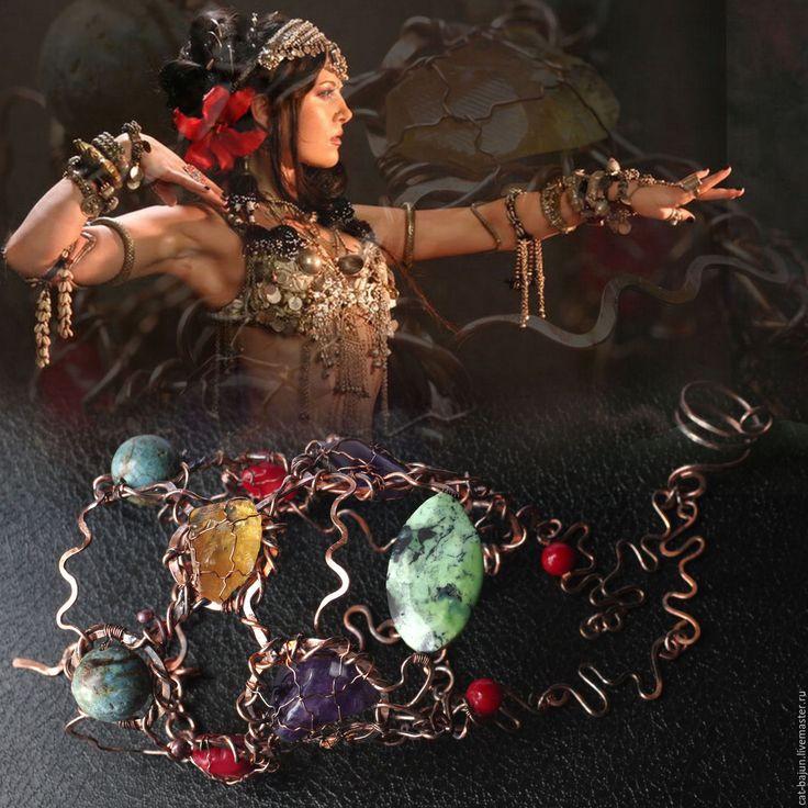 Купить Формула любви. Медный браслет в стиле tribal fusion - комбинированный, tribal fusion, tribal