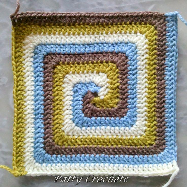 Cuadrado a crochet en espiral