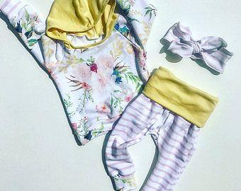 traje de chica de bebé / baby ropa de chica / floral impresión / bebé niña recién nacida / ropa traje / traje del bebé / traje de niño niña linda bebé