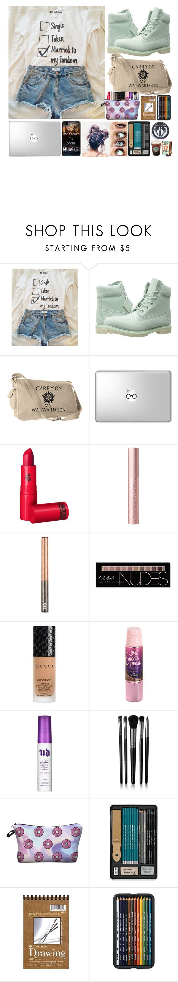 """Coffee Shop"" by cockles ❤ liked on Polyvore featuring Timberland, Lipstick Queen, Urban Decay, Charlotte Russe, Gucci, Benefit, Illamasqua, Hot Topic and plus size clothing"
