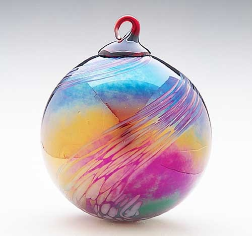 Hand Blown Ruby Feather Glass Ornament Glass Eye Studio