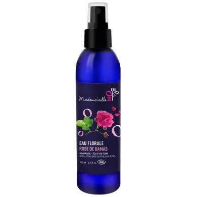 L'Eau florale de Rose de Damas ou Hydrolat bio MADEMOISELLE BIO est réputée pour ses vertus apaisantes et astringentes, elle est l'alliée des peaux dévitalisées en quête d'un teint éclatant et lumineux.Obtenue par une distillation de pé...