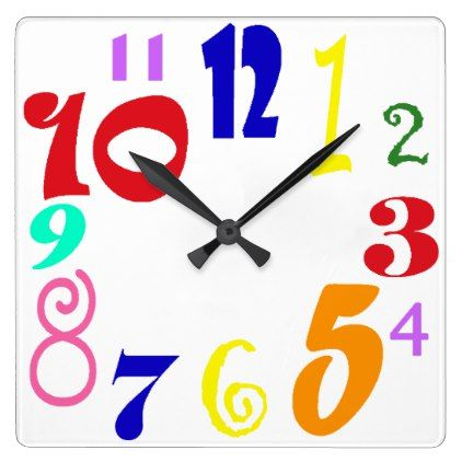 Fun numbers - multicoloured funky numbers on white square wall clock - modern style idea design custom idea