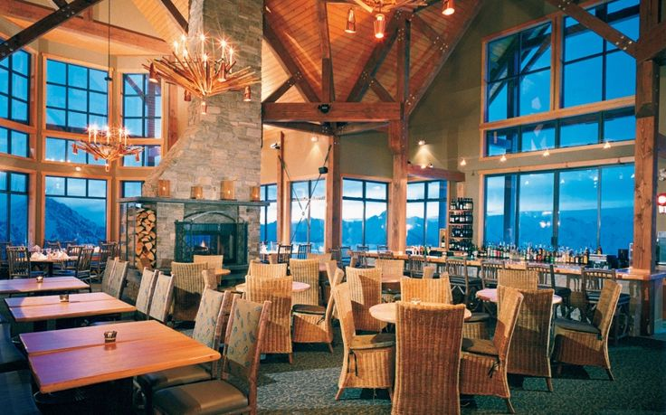 A 15-minute gondola ride lifts diners 7,700 feet above sea level to the timber-framed Eagle's Eye Restaurant at the Kicking Horse Resort in Golden, British Columbia.