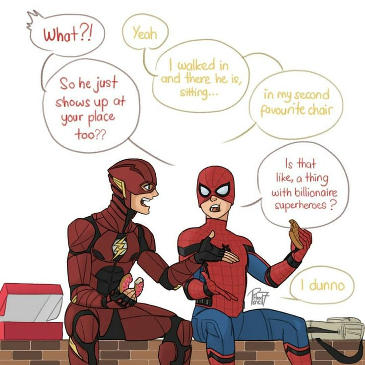 "(@pencilhead7) on Instagram: ""The Flash and Spider-man having a lunch break together."""