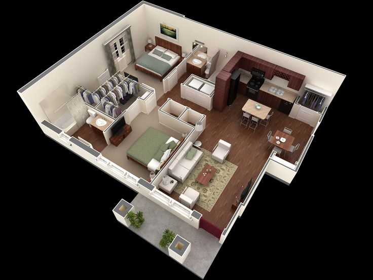 Apartments : Modern And Simple Two Bedroom Apartment Design With The Living  Room And Family Functions Together Picture   A Part Of Surprising Bedroom  ...