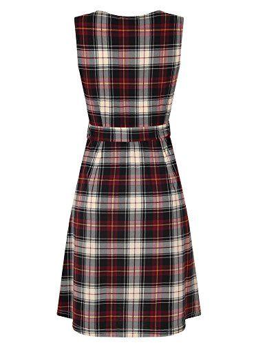 03f3da3c16 Laksmi Womens Sleeveless A Line V Neck Vintage Floral Print Fit and Flare  Dress With Belt
