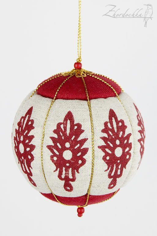 Christmas Ornament - Kimekomi - Crimson and Raw Linen - Hand Printed Design -