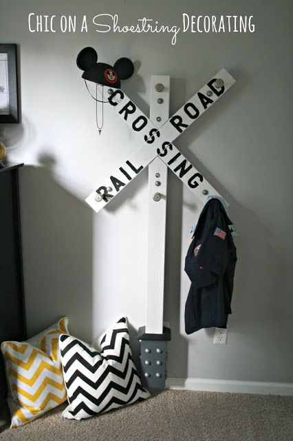DIY Railroad Crossing Clothes Hanger, Bigger Boy Room Reveal by Chic on a Shoestring Decorating