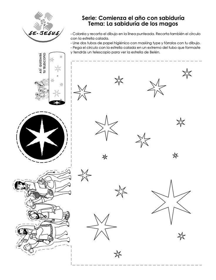 telescopio reyes magos. Se pega el dibujo al relledor de un rollo de papel y se pega la estrella (recortada por dentro) en la punta. Se mira a través del telescopio  y ves la estrella!!!
